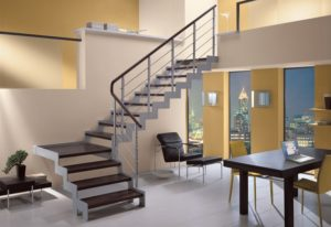 Metal light staircase for the apartment