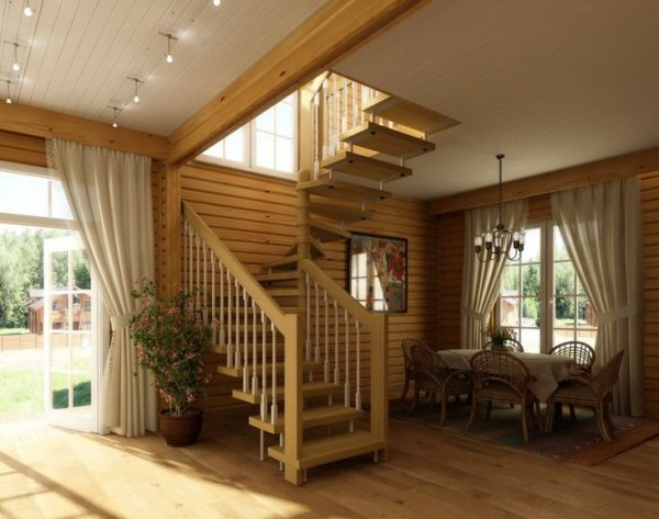 Comfortable and safe stairs in a country house