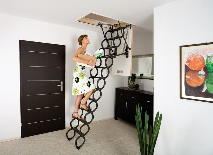 Light metal steps in the attic & Compact and practical attic ladders | Staircase design