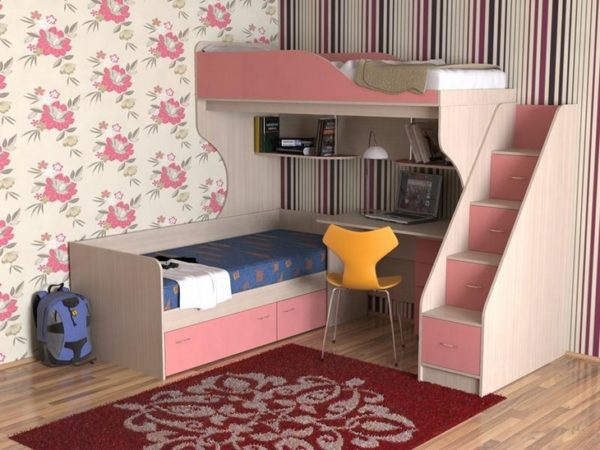 Children's complex of two beds and stairs with boxes