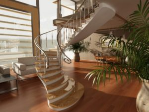 The staircase is in the center of attention