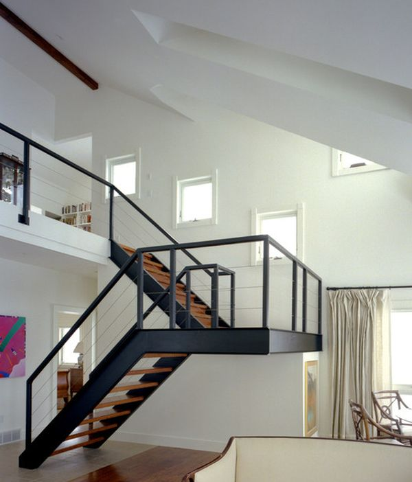 Metal Stair Design With Landing Staircase Design