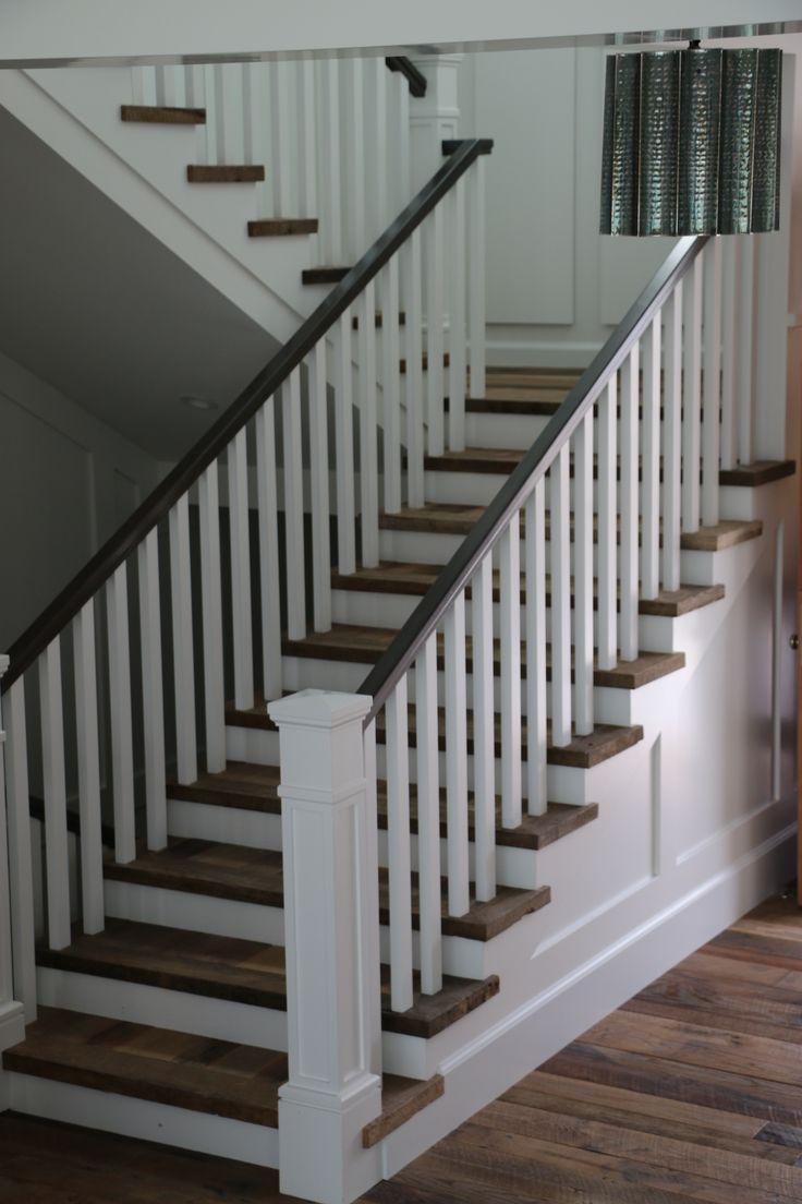 white wood stair railing - Staircase design
